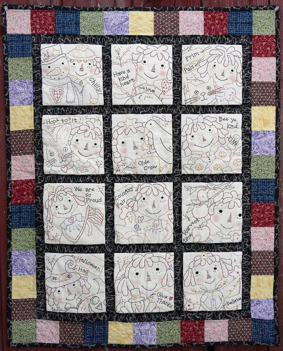Raggedy Ann Embroidery Quilt Pattern Pdf 12 Months Seasonal
