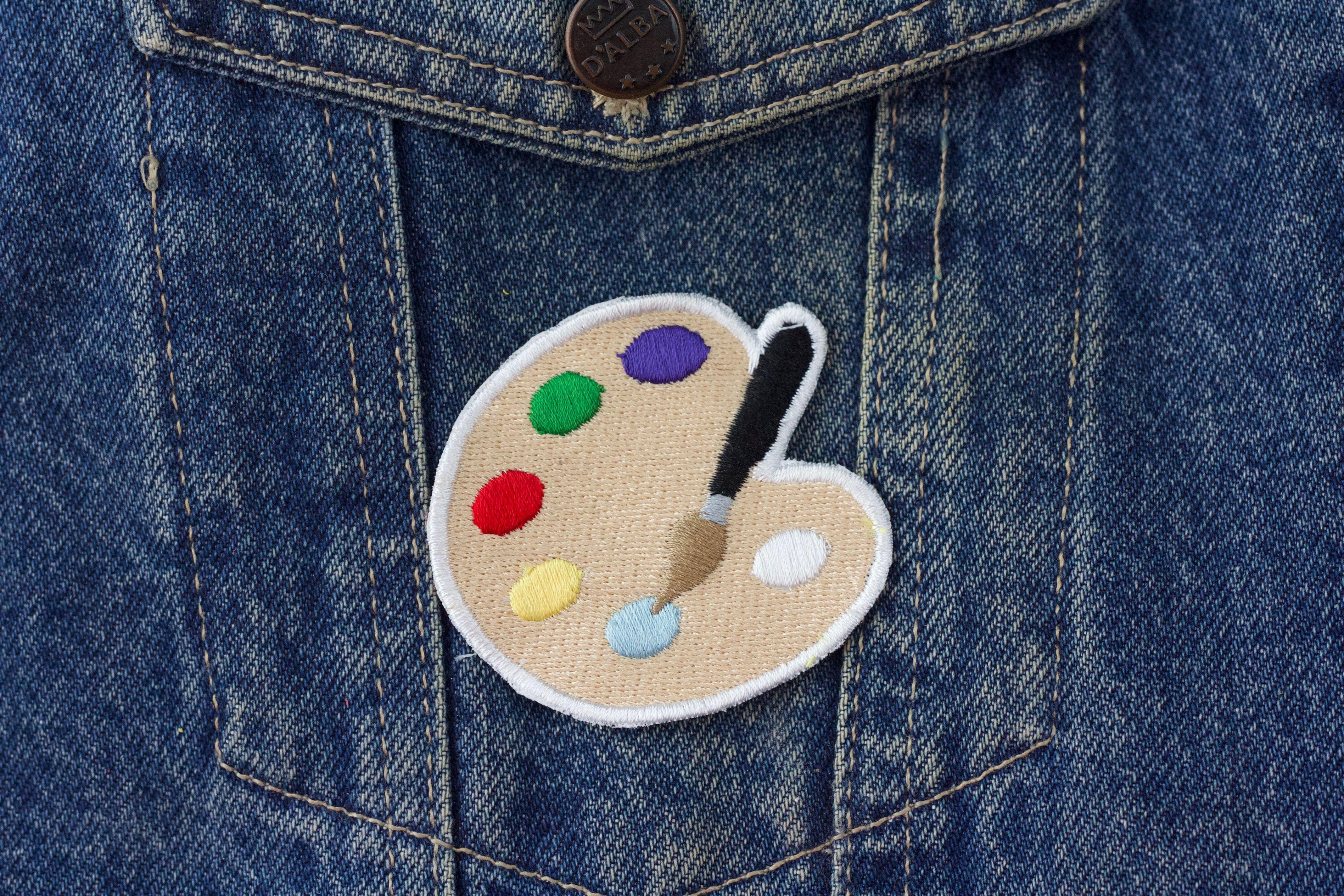 Paleta de artistas emoji Parche, bordado aplique, coser en