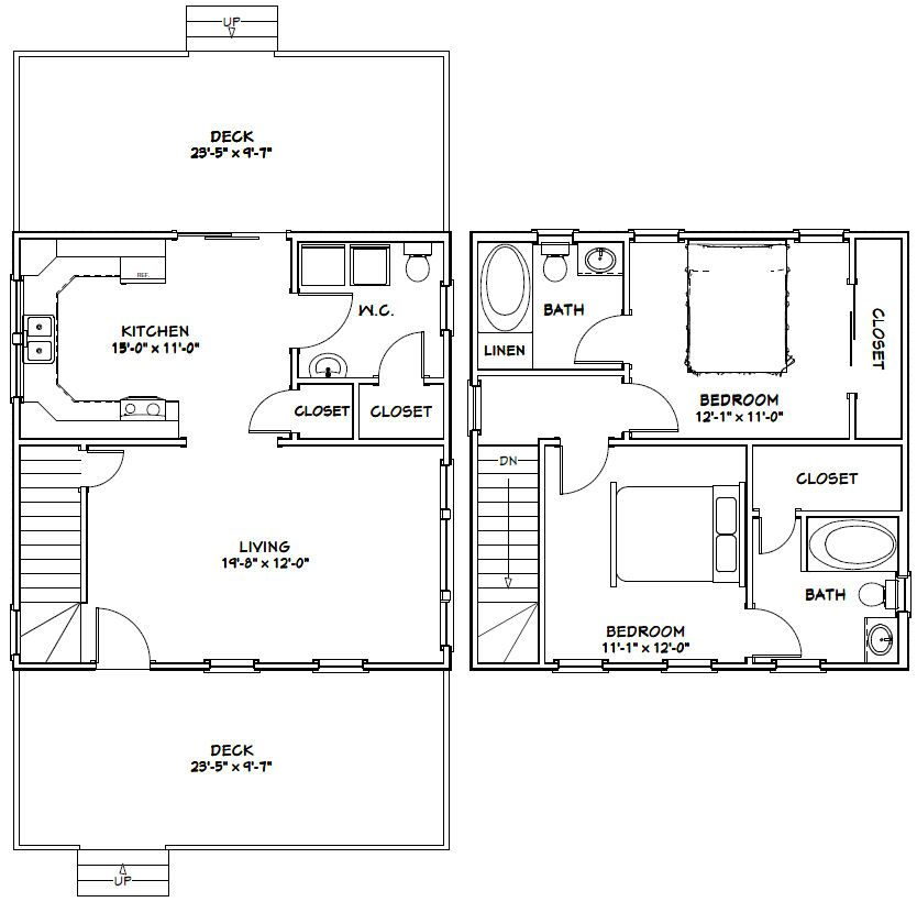 24x24 House -- #24X24H6C -- 1,086 sq ft - Excellent Floor Plans, 2 ...