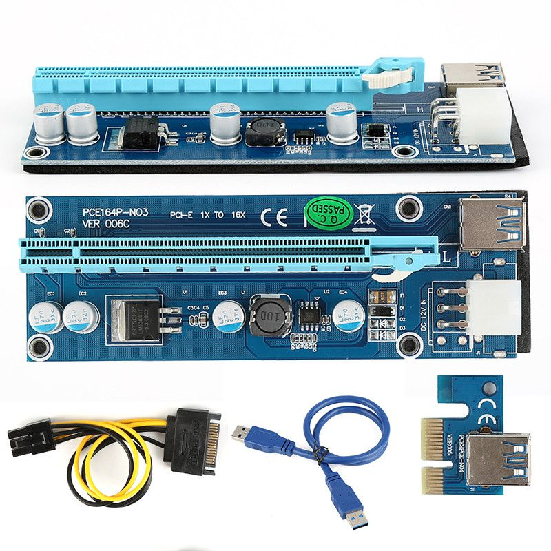Blue 30cm PCI Express Riser Card PCI-E 1X To 16X USB 3.0 To 6Pin IDE ...