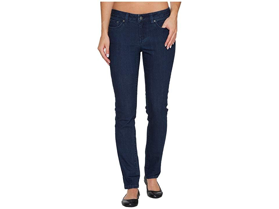 Prana Kayla Jeans (Indigo) Women's Jeans. In the Kayla Jeans  stretch denim and organic cotton update your modern look. Fitted jeans feature a mid rise and skinny cut that tapers through the leg. 'Kara' denim:  Denim is woven with a supersoft hand in a cotton-poly blend.  Stretch weave improves range of motion.  Organic fibers meet regulations passed by the USDA National Organic program. Belt-loop waistband. Zip fly and but