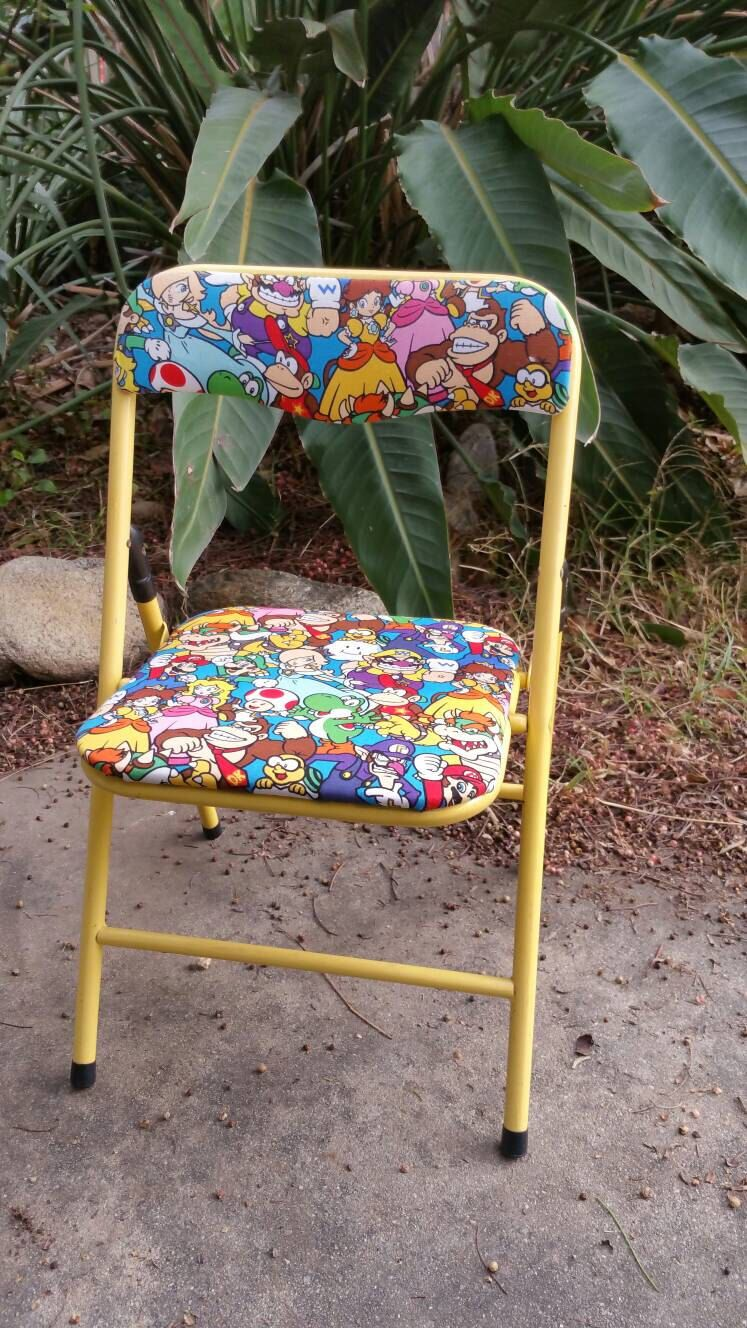 Super Mario Bros Folding Chair Wario Toad Yoshi by FireFly5Girl on Etsy https://www.etsy.com/listing/485324534/super-mario-bros-folding-chair-wario