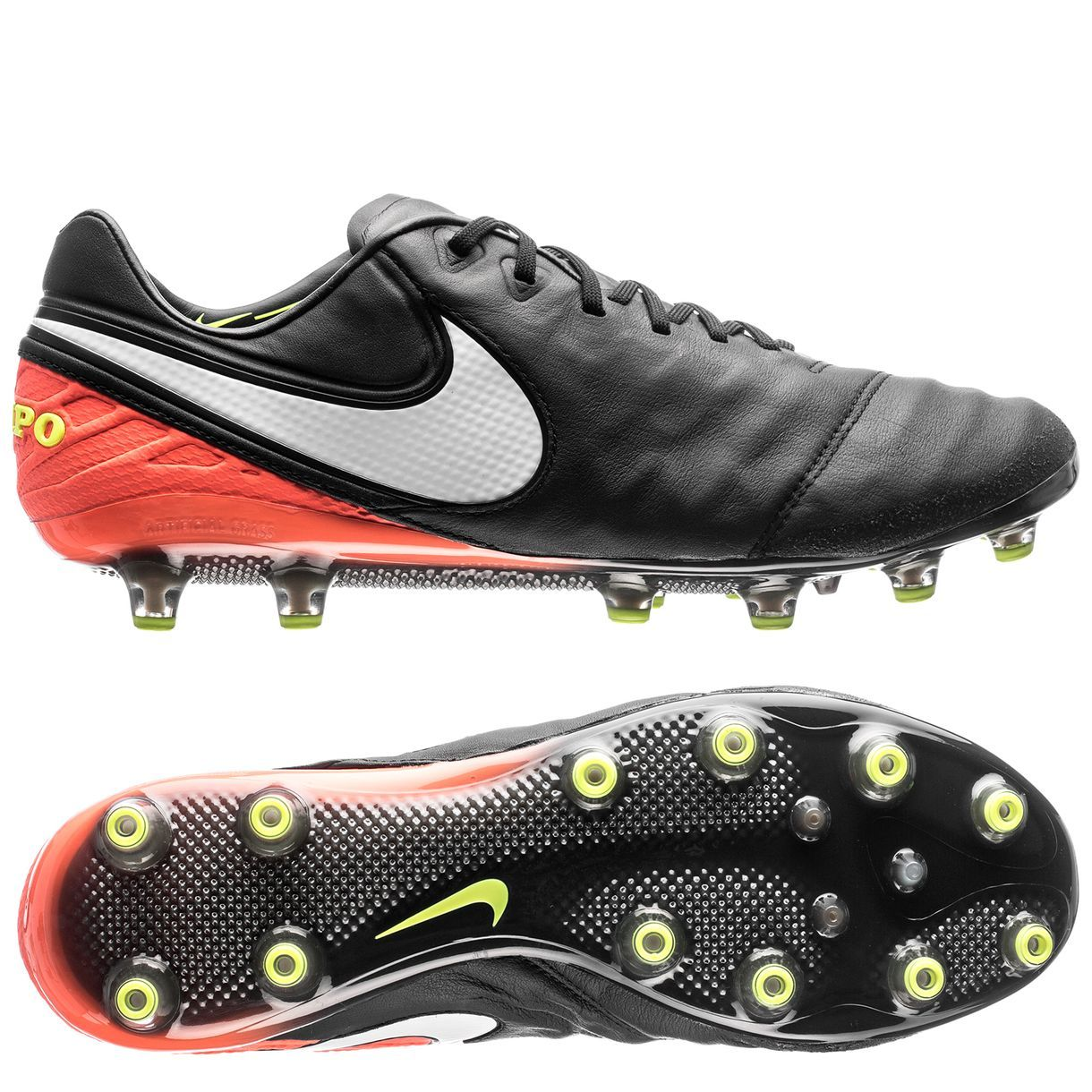 Nike Tiempo Legend IV FG TPU Kangaroo Leather Cleats Black White Orange  3130429