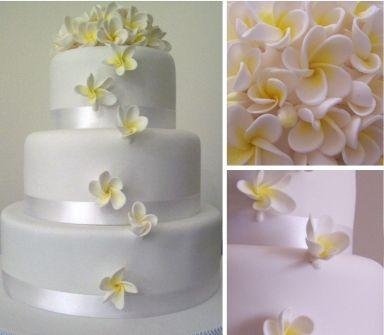 Frangipani Inspired Wedding Cake