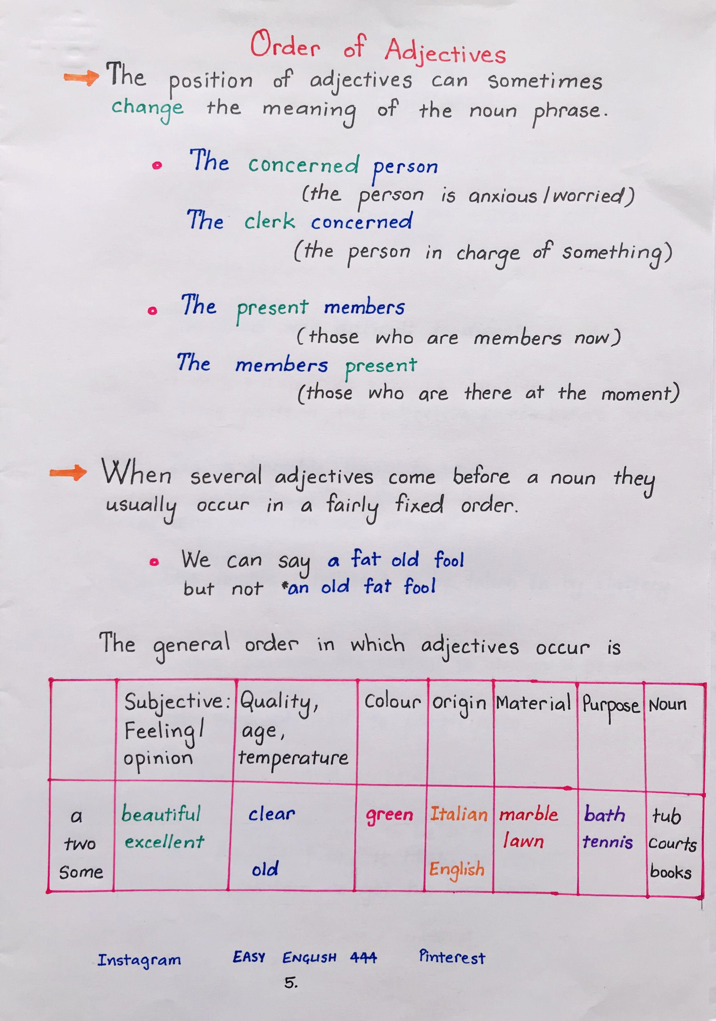 Grammar English Learning Handwritten