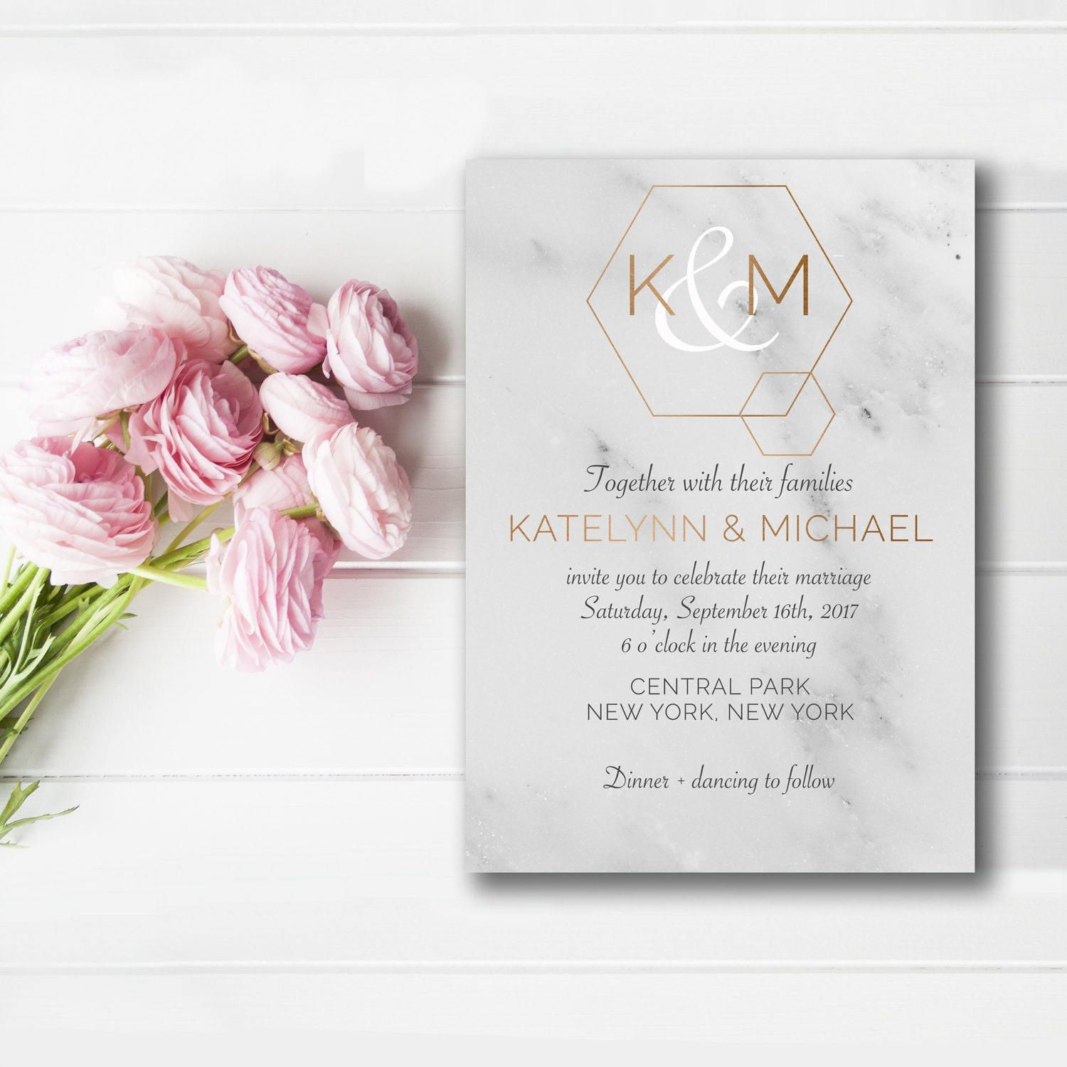 Marble Wedding Suite Modern Wedding Invitation Printable Wedding