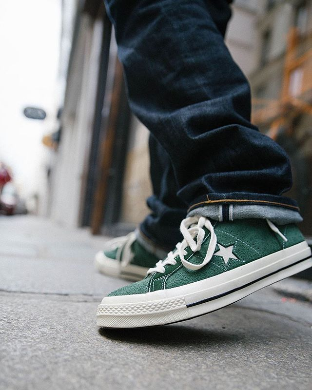 cdb1aad5b177d WEBSTA   starcowparis -  Converse One Star Mid green suede. This classic is  already available in store and soon online📍 95e  converse  converseonestar  ...