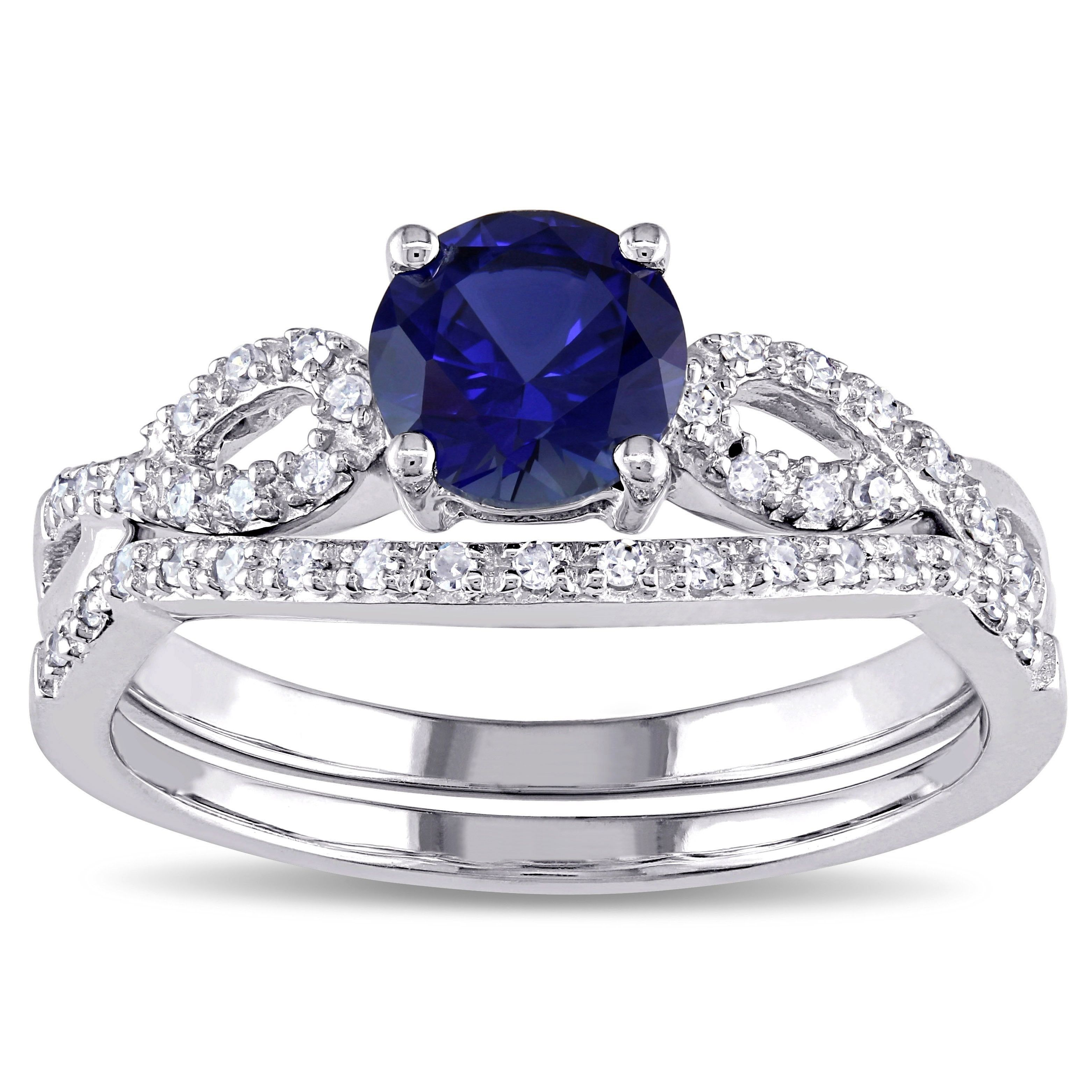Miadora 10k White Gold Created Blue Sapphire and 16ct TDW Diamond
