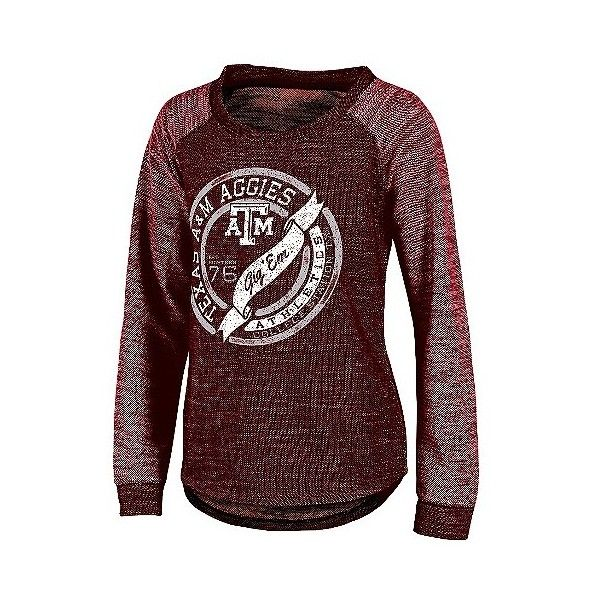 NCAA Texas A& Aggies Women's Raglan Long-Sleeve Shirt ($30) ❤ liked on Polyvore featuring tops, multicolored, blue t shirt, red tee, tee-shirt, red t shirt and red shirt