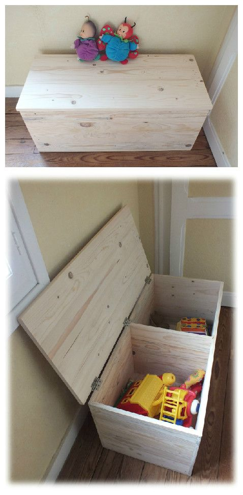 un grand coffre jouets en bois de palette pallet toys box pallets pallet projects and woods. Black Bedroom Furniture Sets. Home Design Ideas