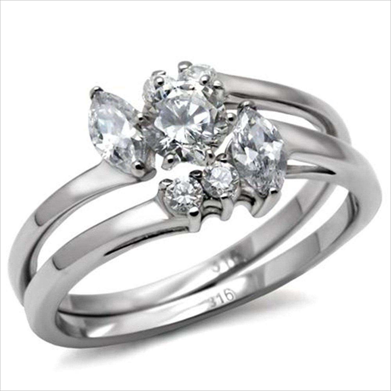 45ct Brilliant Bridal Wedding ring designer fashion Set Stainless