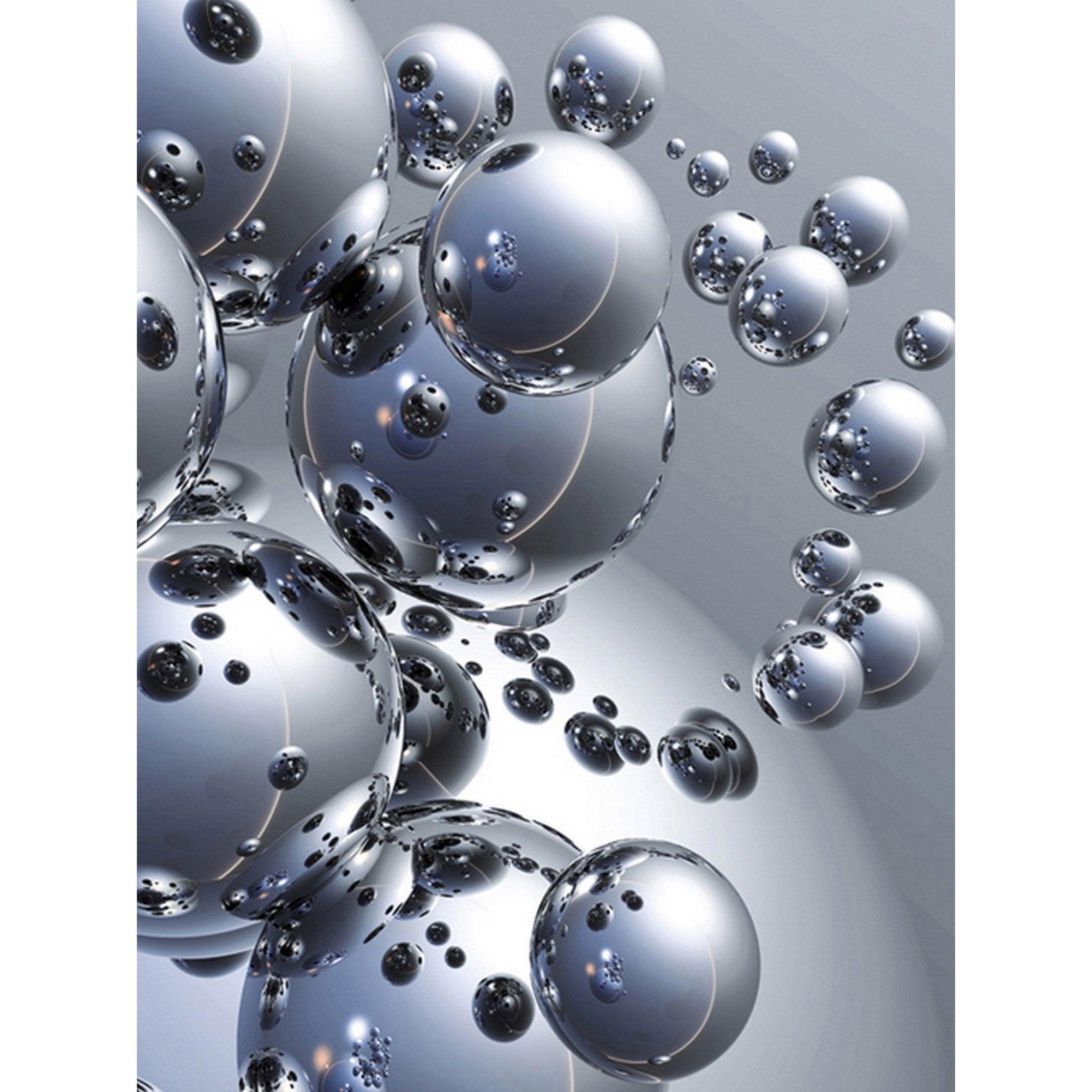 Affiche Silver Orbs L 80 X H 60 Cm Couleur Argent Art Fractal Fond D Ecran Colore