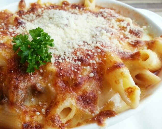 gratin braised beer with penne baked in cheese sauce from brundi