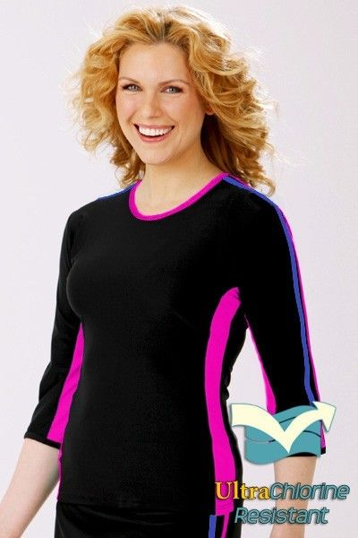 38695b345d359 Double Stripe Swim n  Sport 3 4 Sleeve Active Wear Shirt-hydrochic ...