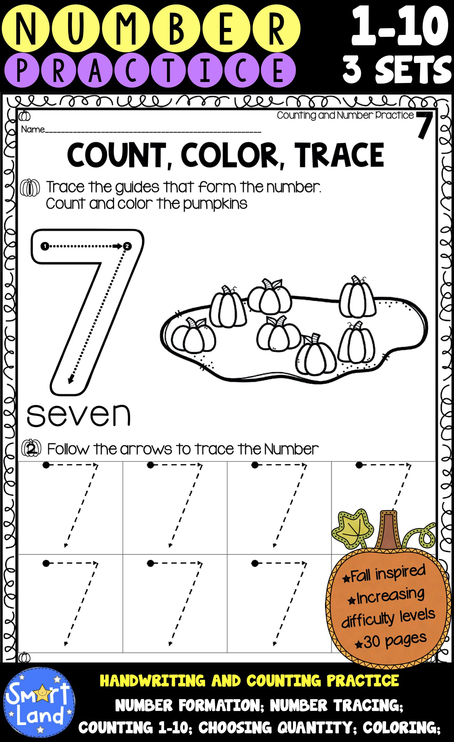 Numbers 1 10 Handwriting And Counting Practice Worksheets