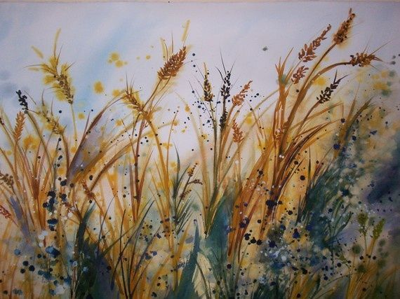 Watercolor Wheat Original Watercolor Called Wheat Size 22x30 By