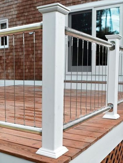 33 deck railing with posts and vertical cables (With ...