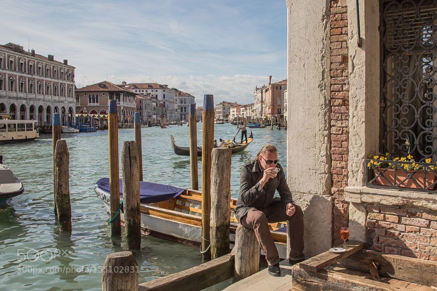 Coffee in Venice self portrait by alexanderpopkov2