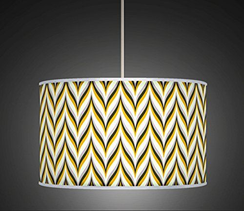 30cm Yellow Mustard Grey Retro Geometric Handmade Giclee Style Printed Fabric Lamp Drum Lampshade Floor Or Ceiling Pendant Light Shade 523 Amaz Fabric Lampshade