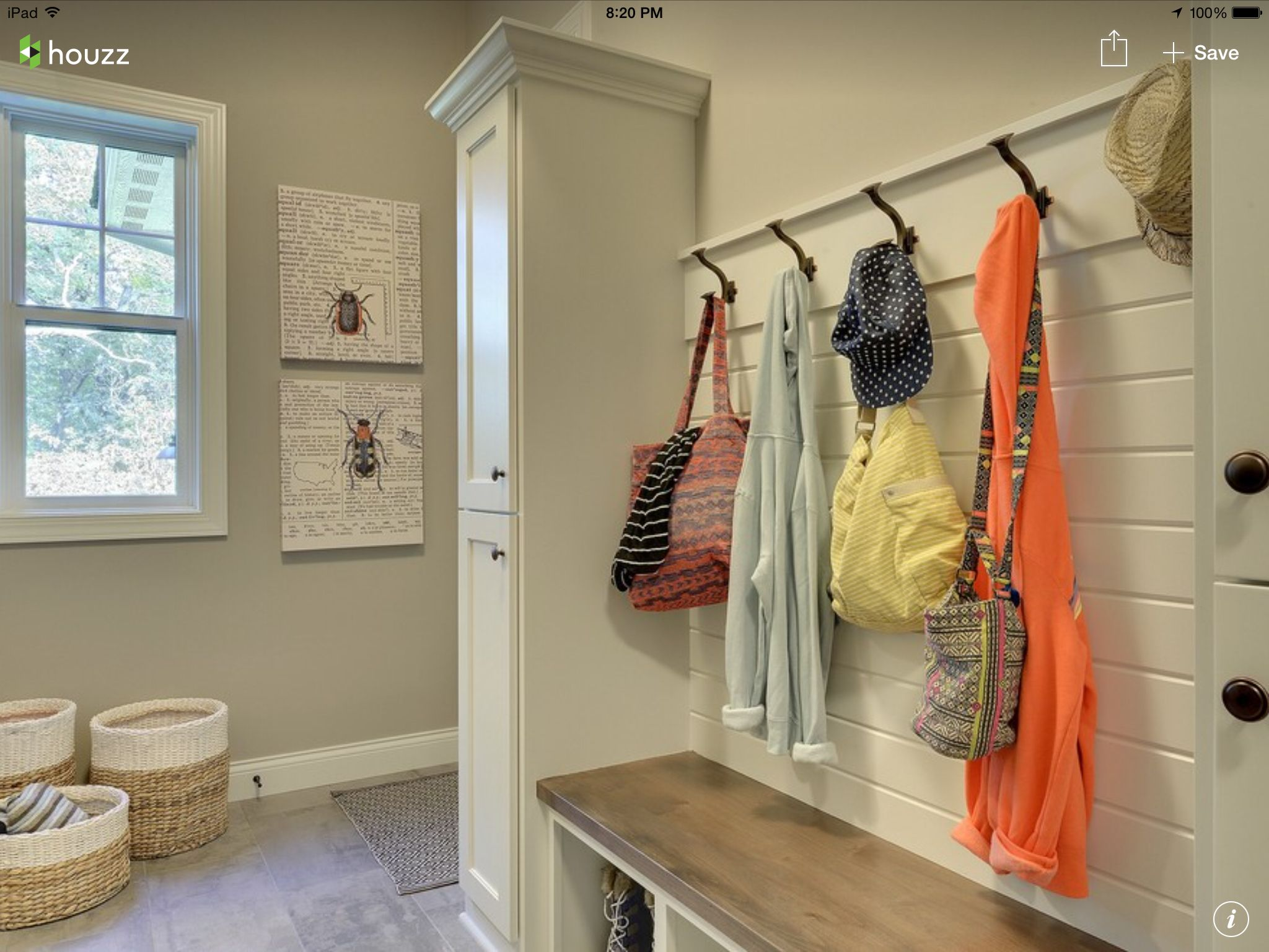 Shiplap Wall With Hooks In Mudroom More Rustic Bench With
