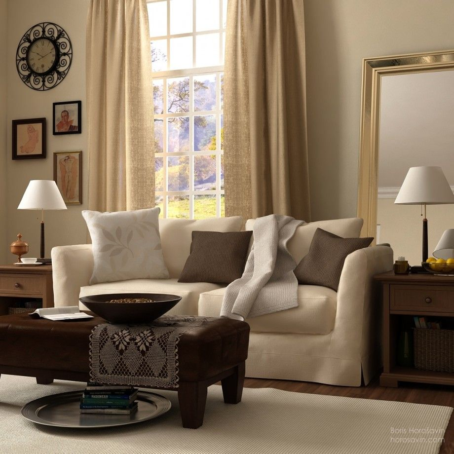 Lovely Adinkra Brown U0026 WHITE Fabric Pics | Beige And White Themed Living Room With  Classic Style