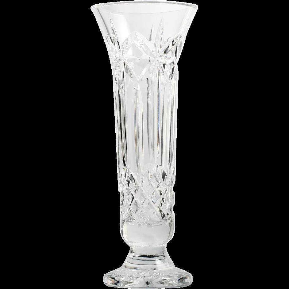 Waterford Balmoral Cut Crystal Vase Stars Panel Cross Cut Irish Art Glass Vintage Irish Art