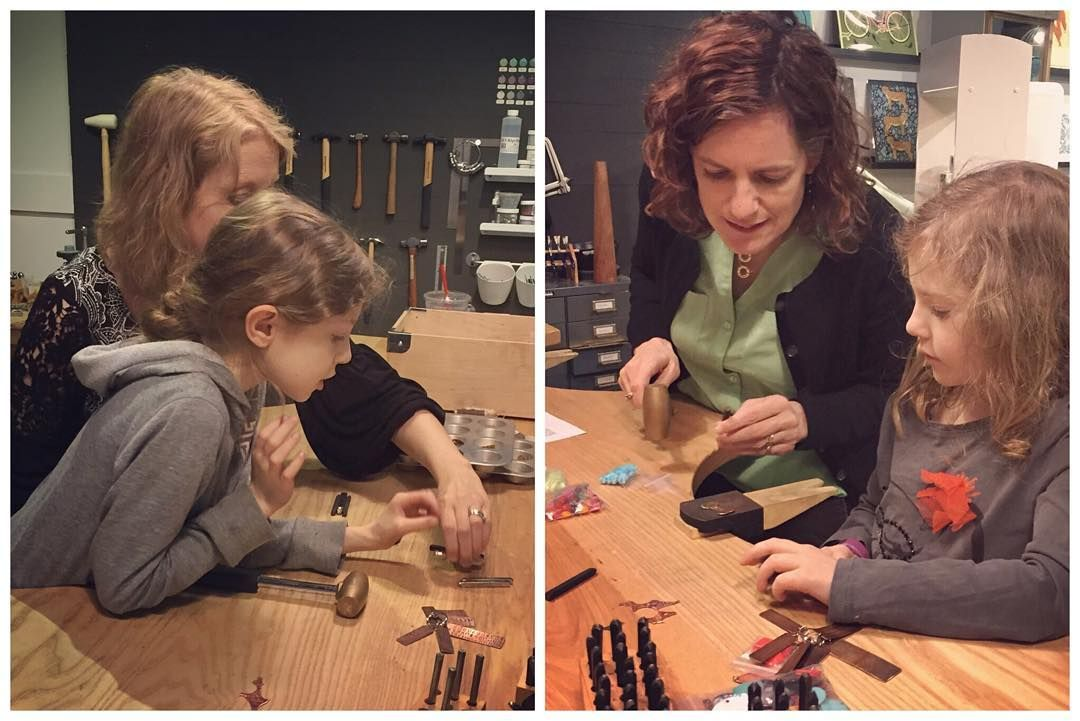 We had a lot of fun with two of our youngest students this evening! Ellie and Maria made a stamped charm necklace and bracelet with bead accents!