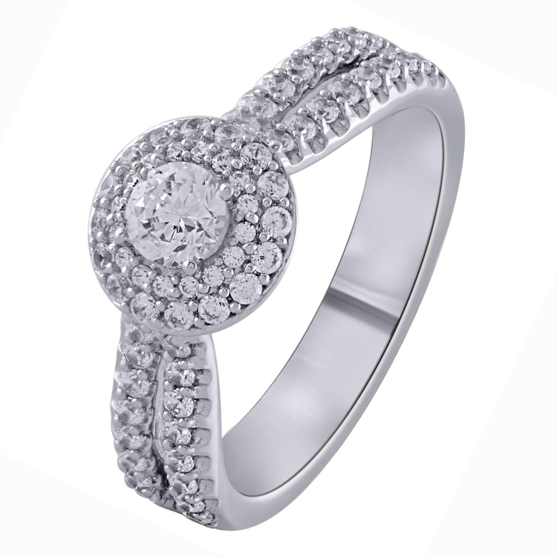 14k White Gold 1ct TDW Diamond Stand Alone Double Halo Bridal Engagement Ring (I-J, I1-I2) (STD), Women's, Size: 7