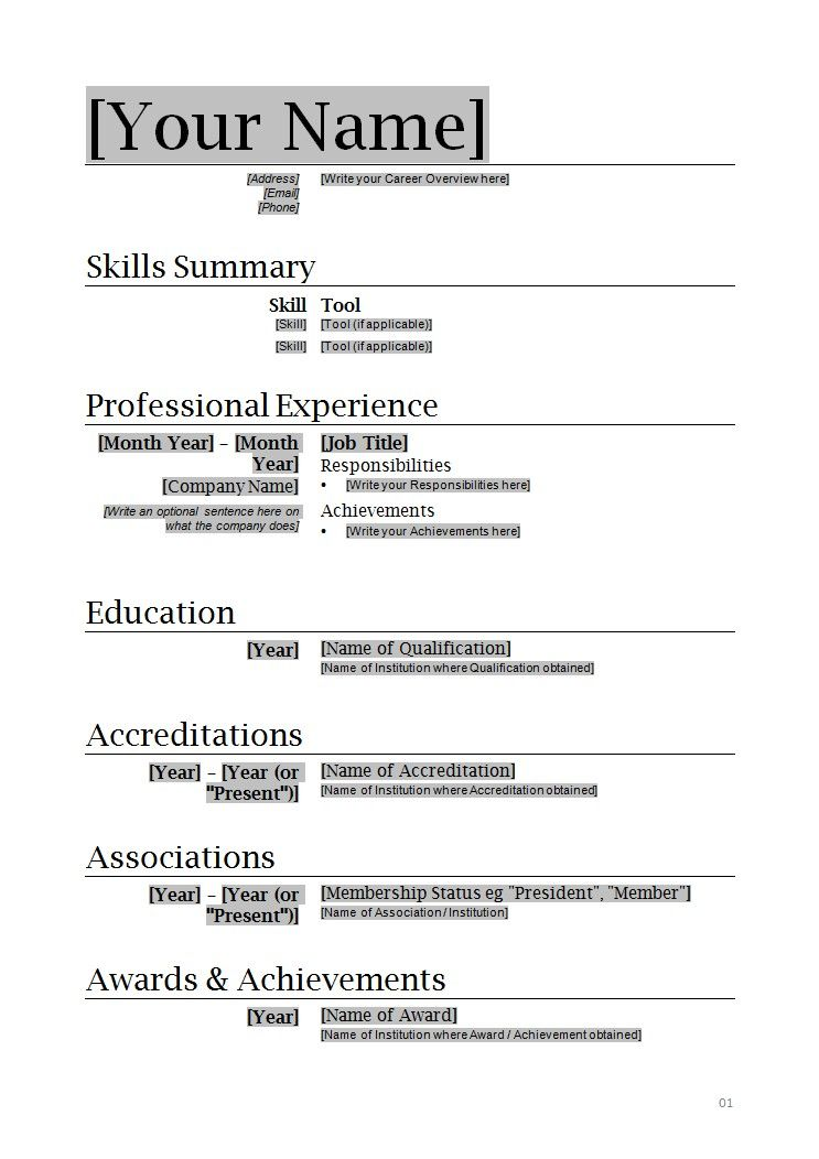 resume format template microsoft word