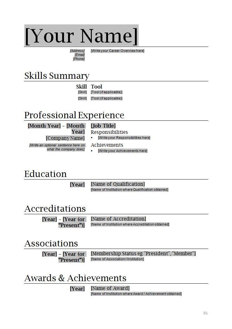 Resume Word Document Template Resume Sample