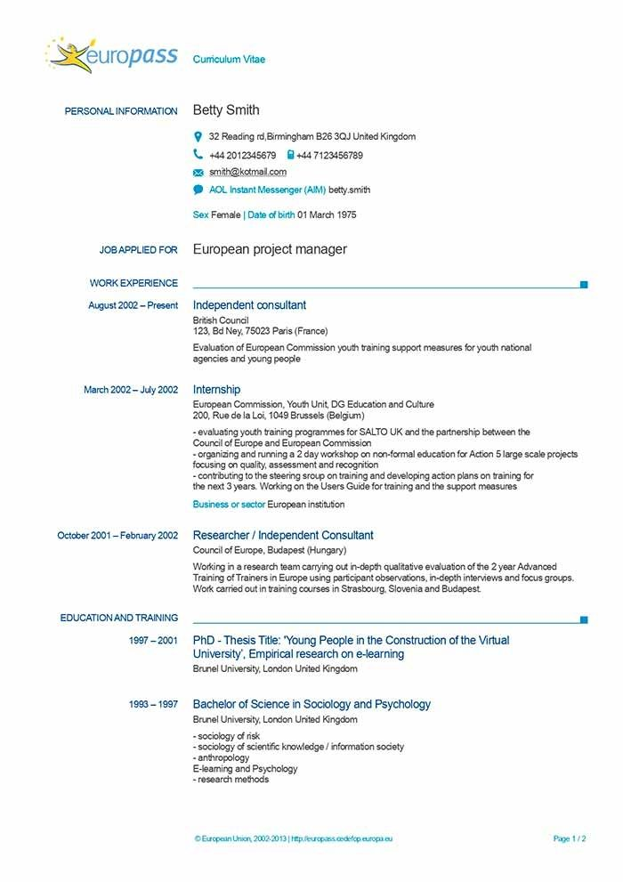 Europass Cv Free Download European Resume Template