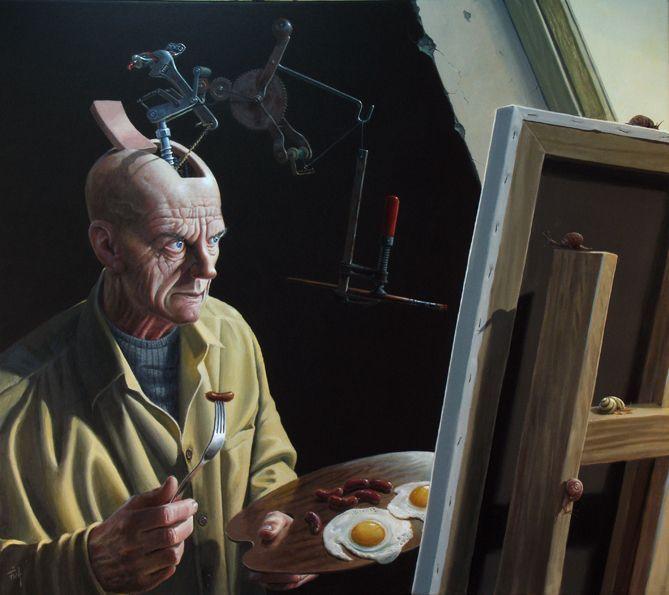 """Painting """"Nødvendige Automatik"""" by the Danish artist Ole Fick, 80 x 90 cm."""