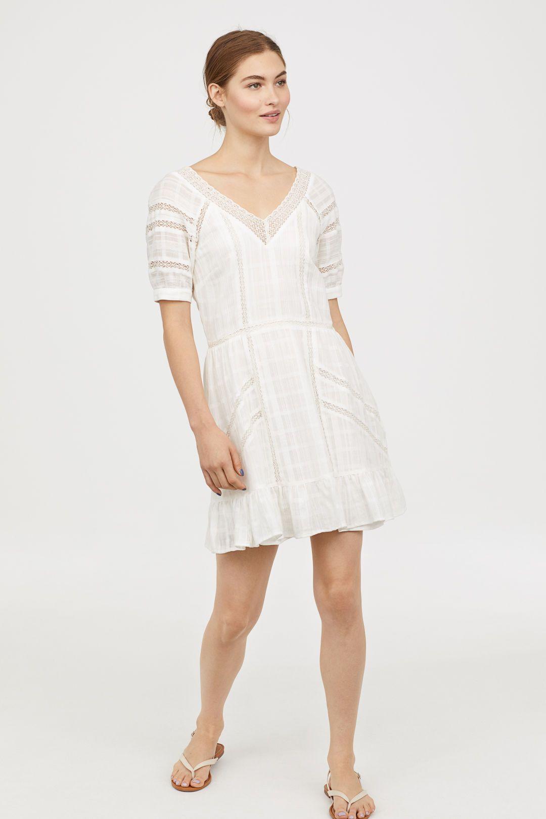 H&m lace dress white  HuM Vneck Cotton Dress  White  Woven cotton Lace trim and Cotton