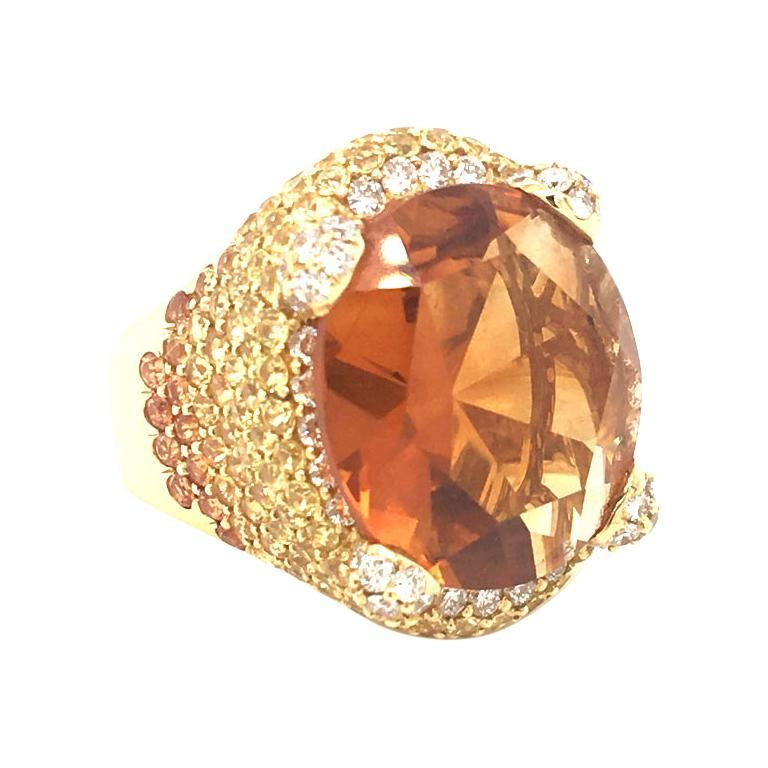 12 Carat Citrine Center And Multi Color Yellow Sapphire Dome Gold Ring Rose Gold Ring Set Yellow Diamond Rings Yellow Gold Rings