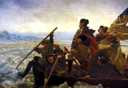 Portion of the painting of George Washington crossing the Delaware ...