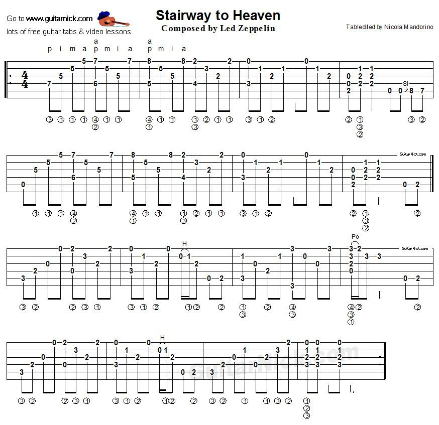 Guitar Chord Tabs: Stairway To Heaven: Guitar TABLATURE