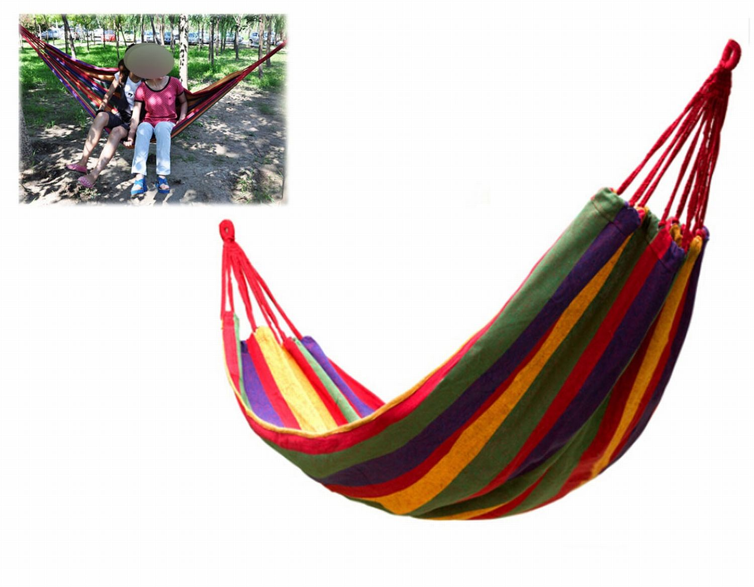 Canvas Portable Camping Garden Outdoor Indoor Hammock For Two People Hiking Travel Equipment Products