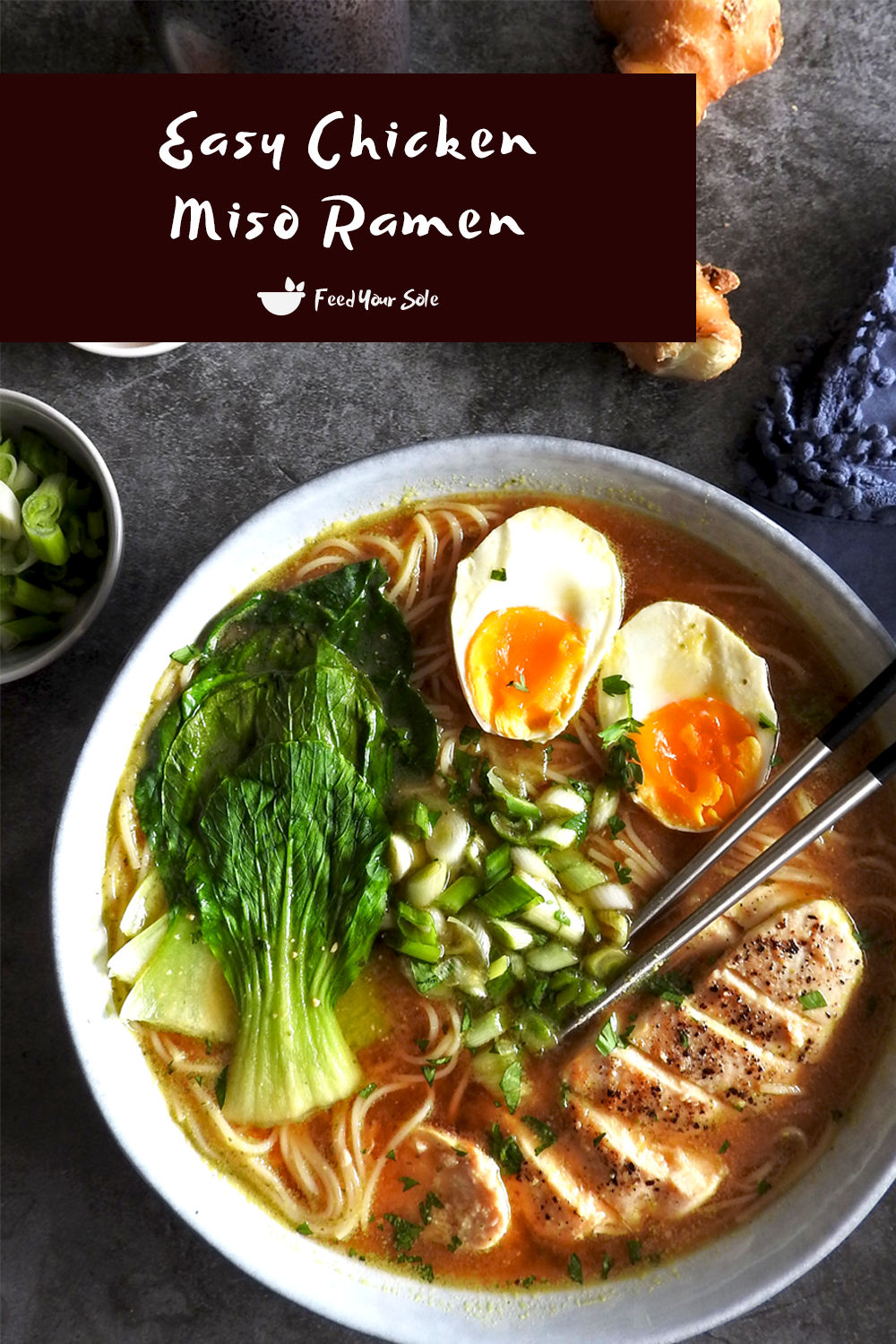 Super warming, rich and salty. This beautiful Easy Chicken Miso Ramen is an amazing comforting meal with hints of ginger and spring onion. Plus it only comes in at 550 calories!  #ramen #miso #misoramen #chickenramen #japanesefood #japaneserecipe