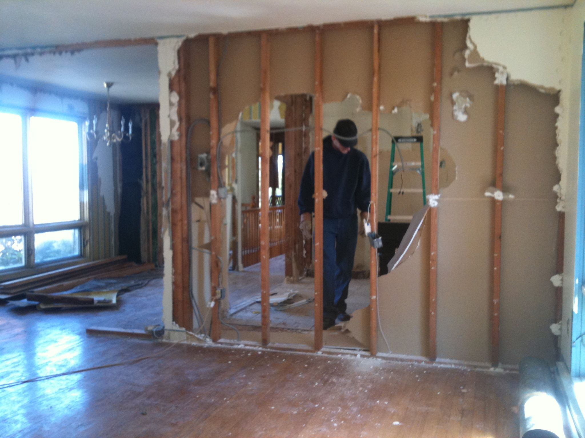 Taking Down Walls In Old Kitchen To Open Up Floor Plan