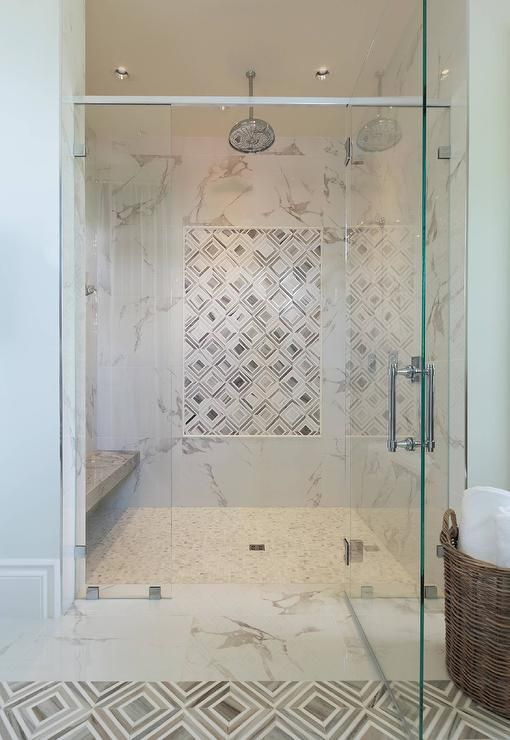 Marble Diamond Pattern Floors Matching A Shower Accent Wall Combining A Classic Marble With A Diamond Center Shower Tile Designs Shower Accent Tile Shower Tile