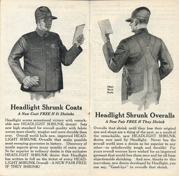 Headlight Overalls Railroad Time Book (Inside), 1930-1931
