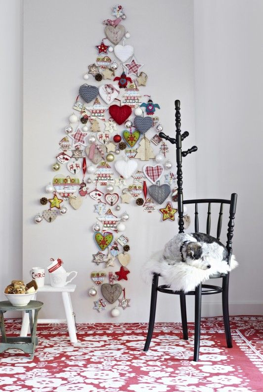 christmas tree on wall Holiday DIY  DECOR Pinterest Christmas