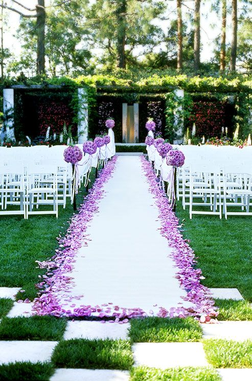 Aisle Runner Outdoor Wedding Ideas Purple Roses Colin Cowie