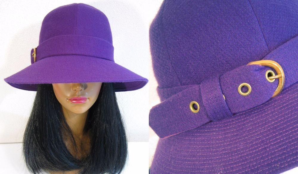 a32df39357a  72.00   Vintage YVES SAINT LAURENT Mod 1960 s 1970s Wide Brim BUCKLE HAT  Purple Designer.