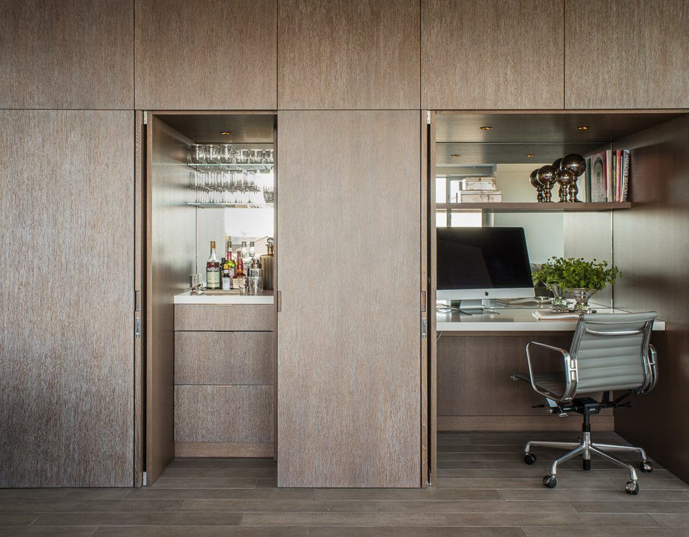 Merveilleux Hidden Wet Bar Home Office Contemporary With Mirror Backsplash Mobile  Vertical Filing Cabinets