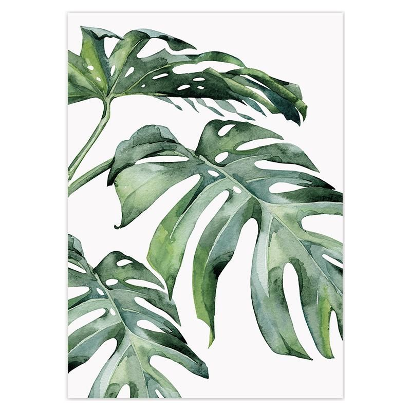 Tropical Green Leaves Canvas Poster -   18 tropical plants Watercolor ideas