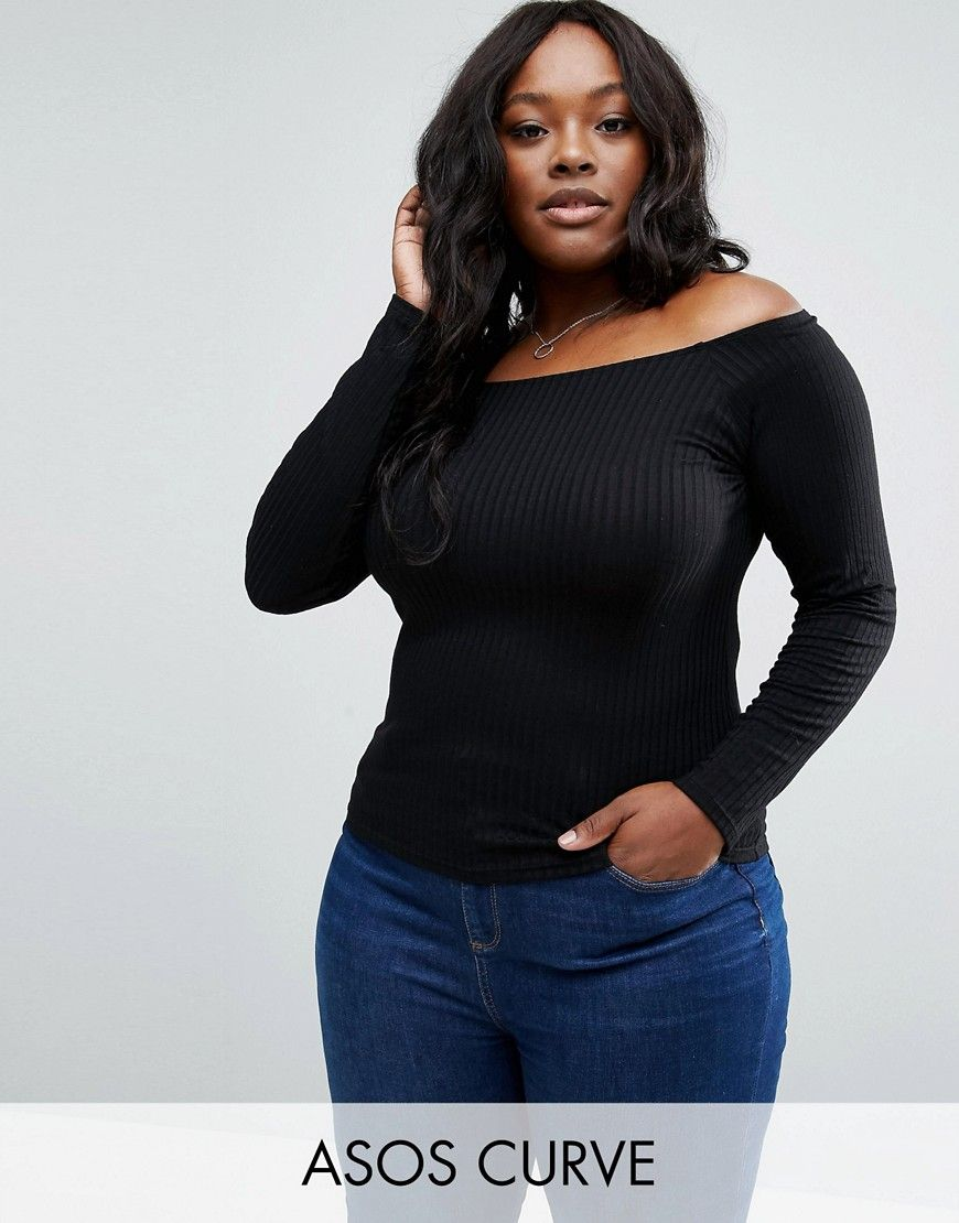 fc707f84df76f ASOS CURVE Off Shoulder Top in Rib - Black. Plus-size top by ASOS CURVE