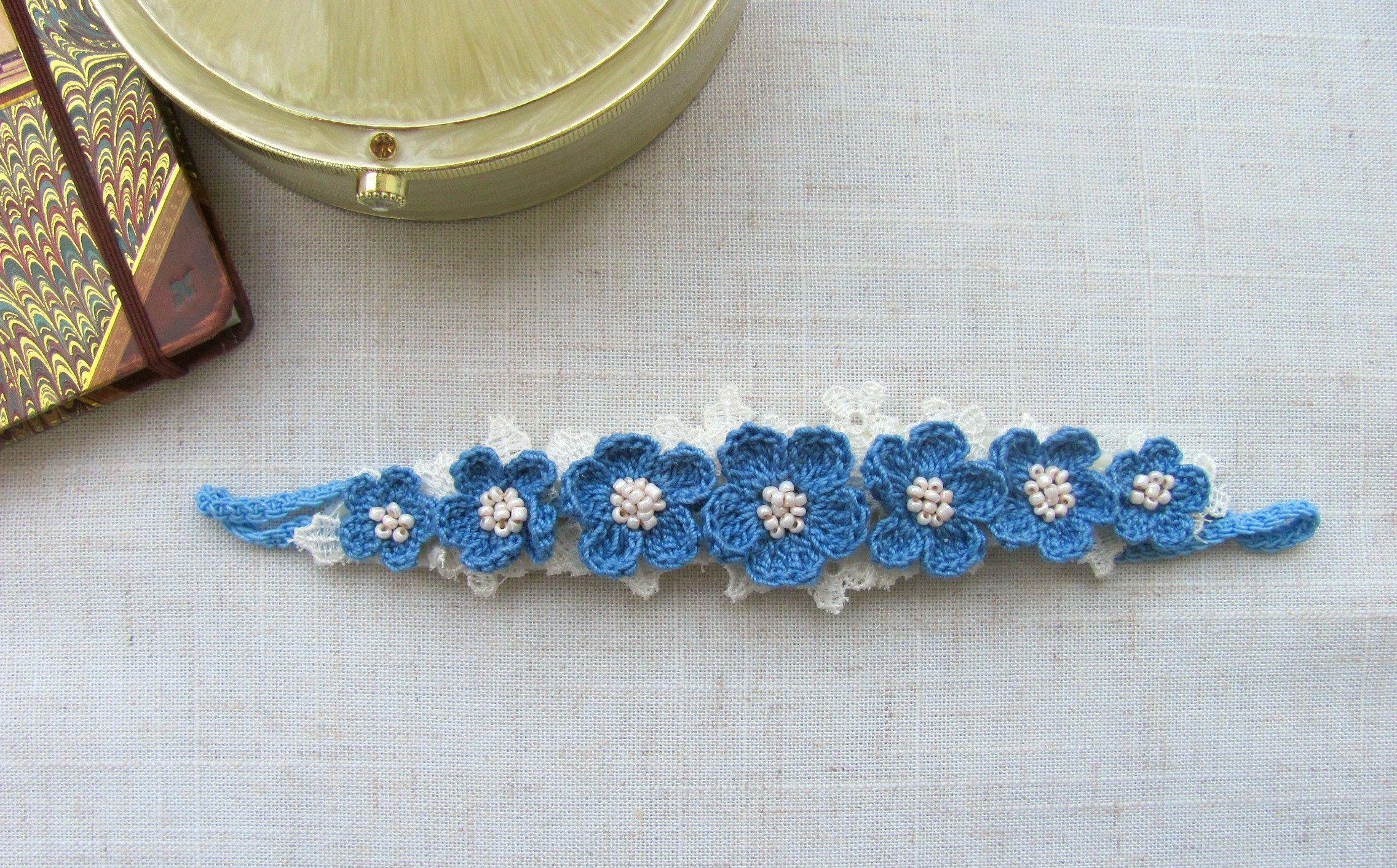 Elastic Headband Floral Headband Blue Flower Headband Photo Props