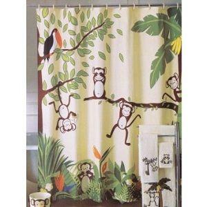Monkey Shower Curtain   Monkeying Around Shower Curtain   Kids Shower  Curtains
