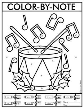 Christmas Color By Note Music Worksheets Music Coloring Music Coloring Sheets Christmas Music Activities